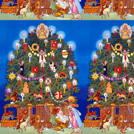 Merry Christmas Nativity scene Jesus Christ Joseph Mary manger angels cherubs candles cats donuts biscuits pretzel crackers clowns Pierrot horses trumpets cones ornaments baubles candles stars  animals cows bulls goats sheep rabbits doves birds vintage re fabric by raveneve on Spoonflower - custom fabric