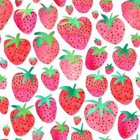 Watercolour Strawberries fabric by emeryallardsmith on Spoonflower - custom fabric