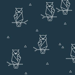 Owls - geometric woodland night birds woods dark navy