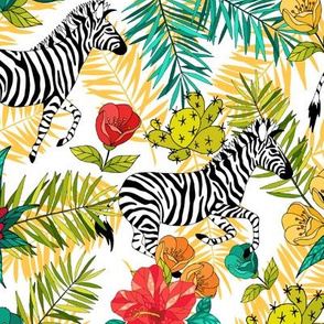 Tropical flowers and zebra