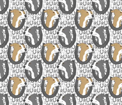 Italian Greyhound horseshoe portraits fabric by rusticcorgi on Spoonflower - custom fabric