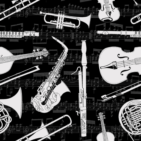 Musical Instruments // Black & Off-White fabric by thinlinetextiles on Spoonflower - custom fabric