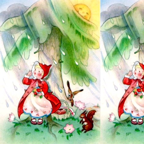 raining rain little red riding hood fairy tales trees sun girls children rabbits flowers squirrels  clouds vintage retro kitsch whimsical fabric by raveneve on Spoonflower - custom fabric