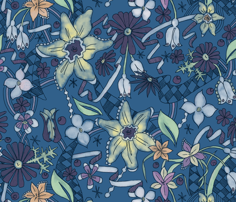 Daffies and Daisies Blue fabric by julieprescesky on Spoonflower - custom fabric