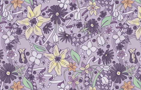 Daffodils and Daisies L Purple fabric by julieprescesky on Spoonflower - custom fabric