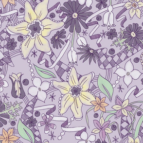 Daffodils and Daisies L Purple