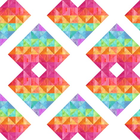 Rainbow heart geometric fabric by eroseimagery on Spoonflower - custom fabric