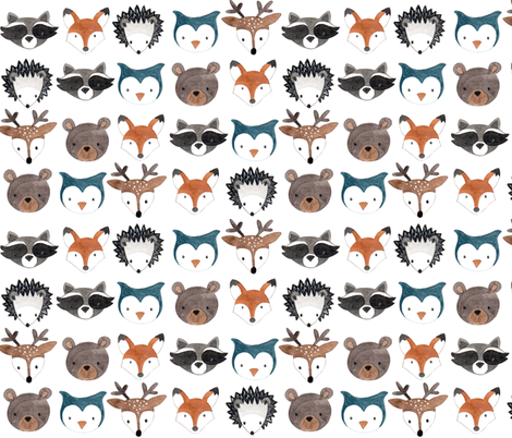 Woodland Creatures fabric by bluebirdcoop on Spoonflower - custom fabric