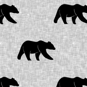 bear on light grey linen (large scale) || the lumberjack collection