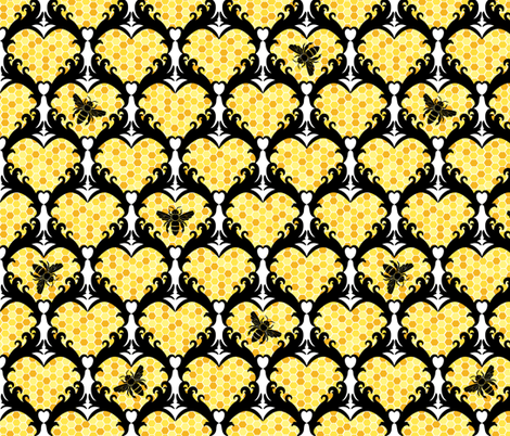Bee Still My Heart Damask fabric by bliss_and_kittens on Spoonflower - custom fabric