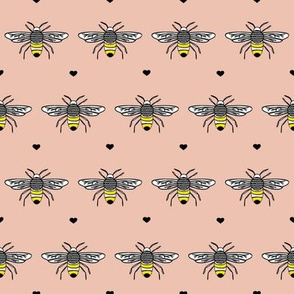 Bumble Bee and hearts on peach