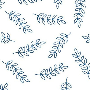 Scattered leaves (white and classic blue)