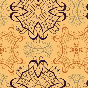Calligraphic Medallions on a Tan Background