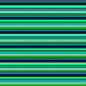 BN6 - Narrow Variegated Hybrid Stripes in Greens - Teal - Navy Blue - Crosswise