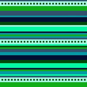 BN6 - Variegated Stripes in Light Green - Teal - Navy Blue - Crosswise