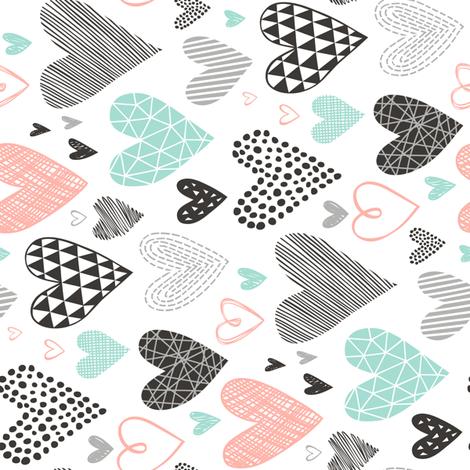 Hearts Geometrical Love Valentine Black&White Mint Peach Rotated fabric by caja_design on Spoonflower - custom fabric