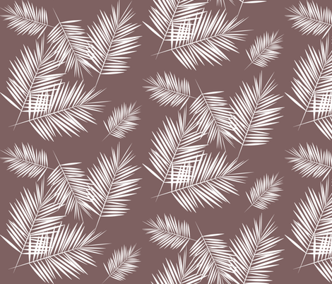Palm leaves - palm tree tropical fern leaf white on mauve summer || by sunny afternoon fabric by sunny_afternoon on Spoonflower - custom fabric
