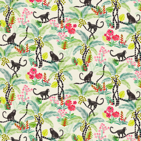 Tropical Monkeys - really small fabric by jill_o_connor on Spoonflower - custom fabric