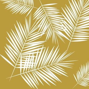 Palm leaves - Palm tree tropical white on mustard