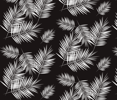palm leaves - monochrome black and white palm tree fern tropical summer  fabric by sunny_afternoon on Spoonflower - custom fabric
