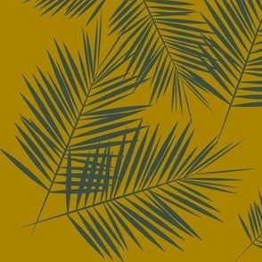 Palm leaves - green on golden mustard palm tree tropical summer fern || by sunny afternoon