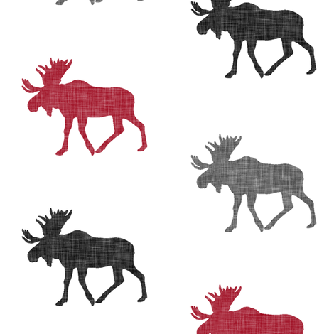 multi moose || the lumberjack collection fabric by littlearrowdesign on Spoonflower - custom fabric