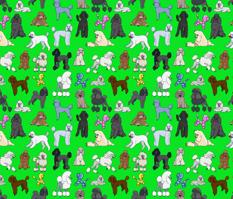 poodles_lime fabric by creativeworksstudios on Spoonflower - custom fabric