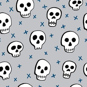 H alloween Skulls Grey