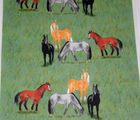 Black Bay Gray and Palomino Horses Vertical Stripe