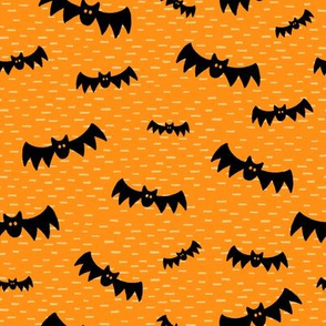 Halloween Bats on Orange