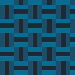 Basketweave Cheater Quilt (deep indigo)