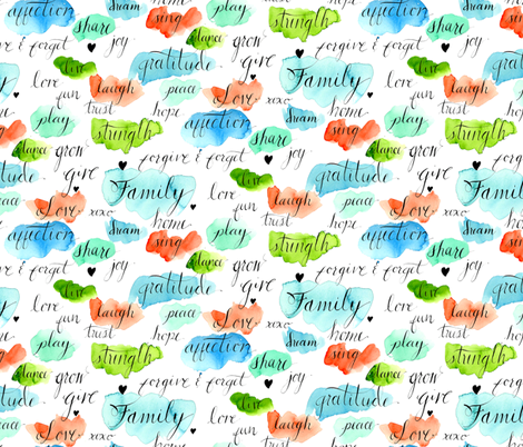 Family Values Watercolor fabric by mjmstudio on Spoonflower - custom fabric