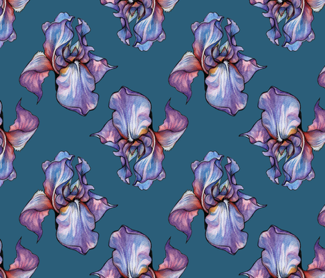 Iris 2 ( Jade Iris ) fabric by elena_naylor on Spoonflower - custom fabric