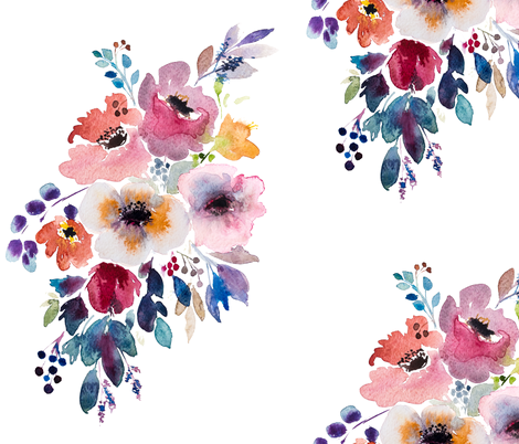Fall flower watercolor bouquet  fabric by craftberrybush on Spoonflower - custom fabric