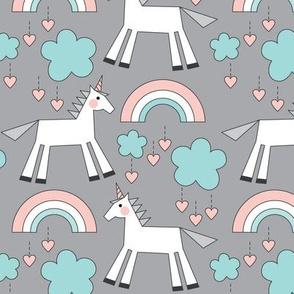 unicorns on grey soft colors