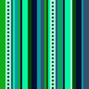 BN6 - Variegated Stripe in Light Green - Teal - Navy - lengthwise