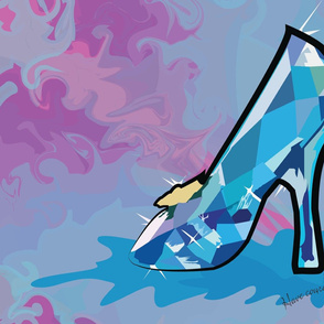 Cinderella glass slipper painting geometric