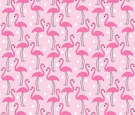 Pink flamingos on pink  fabric by lilcubby on Spoonflower - custom fabric