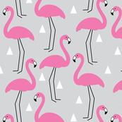Pink flamingos-on-grey