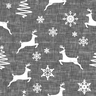 reindeer on grey linen