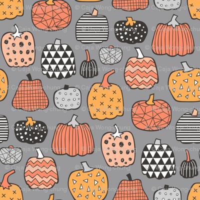 Geometric Pumpkin Fall Halloween in Black&White Orange on Grey