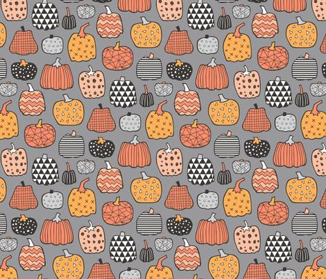 Geometric Pumpkin Fall Halloween in Black&White Orange on Grey fabric by caja_design on Spoonflower - custom fabric