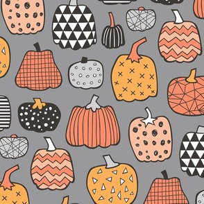 Geometric Pumpkin Fall Halloween in Black&White Orange on Grey
