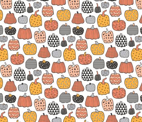 Geometric Pumpkin Fall Halloween in Black&White Orange on White fabric by caja_design on Spoonflower - custom fabric