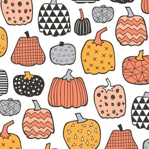 Geometric Pumpkin Fall Halloween in Black&White Orange on White