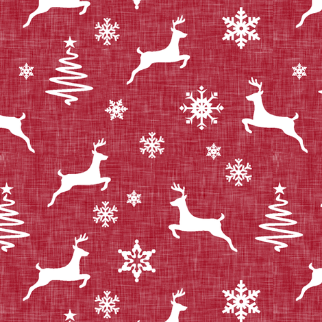 reindeer on holiday red linen fabric by littlearrowdesign on Spoonflower - custom fabric