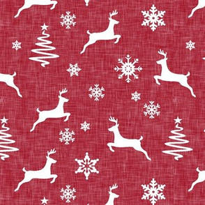 reindeer on holiday red linen