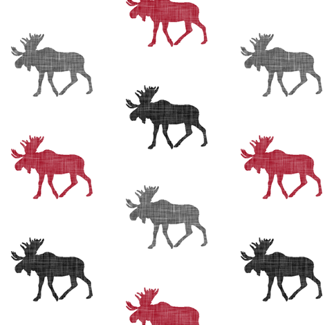 multi moose (small scale) || the lumberjack collection fabric by littlearrowdesign on Spoonflower - custom fabric