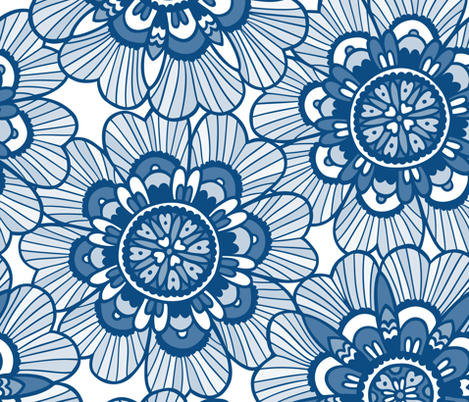 Very large scale flowers in blue fabric by simut on Spoonflower - custom fabric