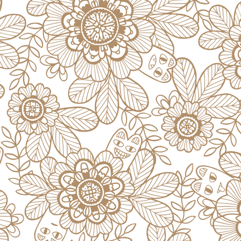 Little naughty garden creatures (iced coffee) fabric by simut on Spoonflower - custom fabric